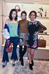 Left to right, Betty Bachz, Sarah Ann Macklin and Rosanna Falconer at a party to celebrate the launch of the new Furla Flagship store, 71 Brompton Road, London England. 2 February 2017.