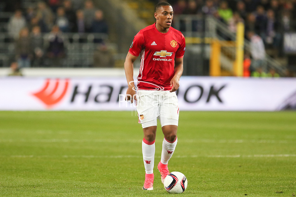 Anthony Martial Forward of Manchester United during the UEFA Europa League Quarter-final, Game 1 match between Anderlecht and Manchester United at Constant Vanden Stock Stadium, Anderlecht, Belgium on 13 April 2017. Photo by Phil Duncan.