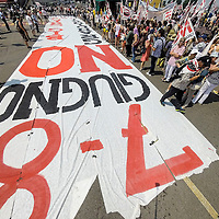 """VENICE, ITALY - JUNE 06:  A 40 meters banner opens the march of the """"No Grandi Navi"""" (No Big Ships) on June 6, 2014 in Venice, Italy. Todays protest was to highlight one again the problem of the big cruise ships in Venice and the major works as the MOSE, TAV or Expo 2015. (Photo by Marco Secchi/Getty Images)"""