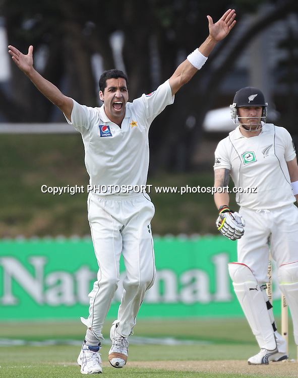 Umar Gul appeals successfully for a LBW decision to dismiss Brendon McCullum during play on Day 1 of the 2nd test match.  New Zealand Black Caps v Pakistan, Test Match Cricket. Basin Reserve, Wellington, New Zealand. Saturday 15 January 2011. Photo: Andrew Cornaga/photosport.co.nz