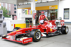 Spanish formula one racing driver Fernando Alonso took a short trip to Hamburg, Germany, where he visited the SHELL fuel laboratory and filled up his formula one racing car at a SHELL gas station on July 3rd 2013, Hamburg, Germany. Photo by Schneider-Press / MR / i-Images<br /> UK & USA ONLY