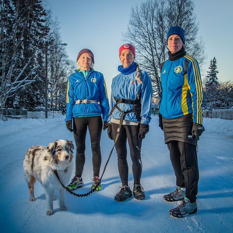 """Each of us has run in a major lower 48 marathon this past year.""  -Long distance runners Tissy Parker, Mary Ann Renkert and Sarah Kleedehn on H Street in Anchorage's South Addition neighborhood  kleedehn@alaska.com"