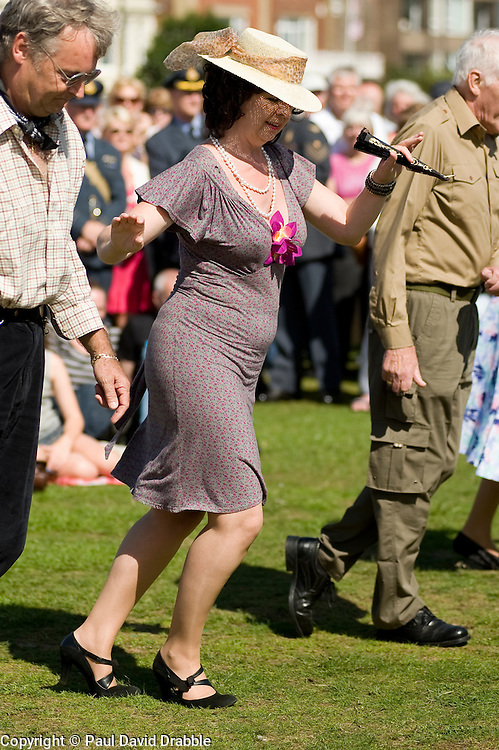 Civilian reenactor at the The first Annual Lytham 1940s Weekend held to celebrate the 70th anniversary of the battle of Britain and raise funds for a new Fighter and Bomber Command Memorial to be erected in Lytham. 21 August 2010 Images © Paul David Drabble..