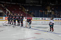 KELOWNA, CANADA - DECEMBER 5: The Pepsi Player of the game lines up with the Kelowna Rockets starting line up against the Tri-City Americans on December 5, 2018 at Prospera Place in Kelowna, British Columbia, Canada.  (Photo by Marissa Baecker/Shoot the Breeze)