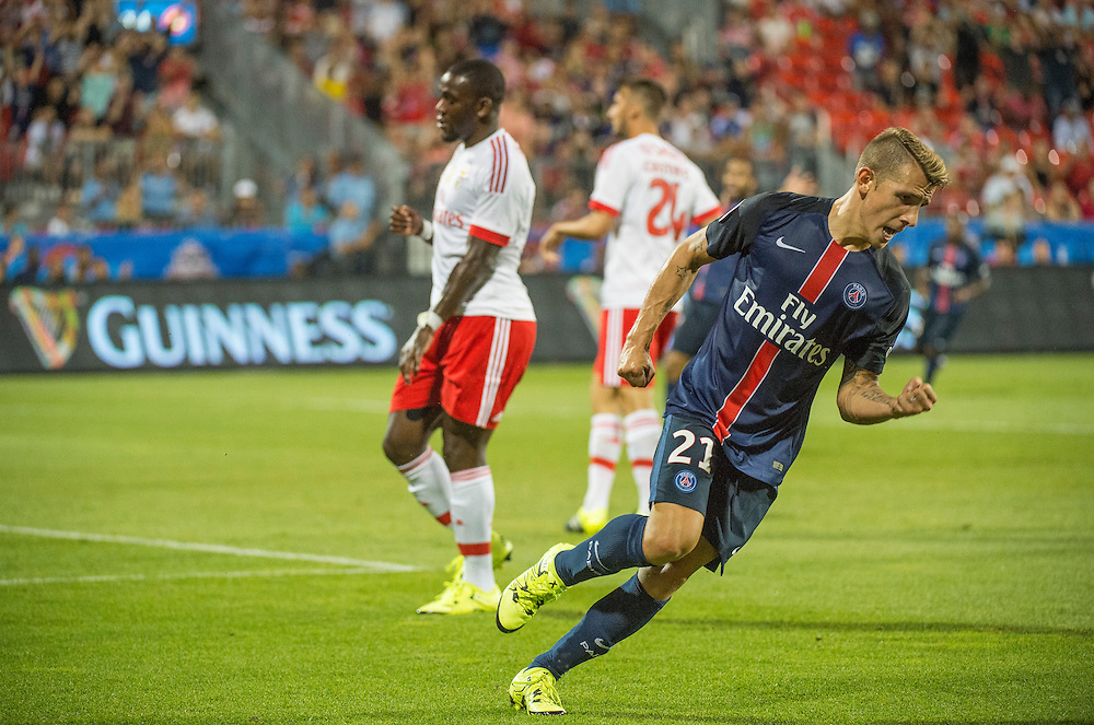 Paris St. Germain's Lucas Digne celebrates scoring a goal against SL Benfica in the International Champions Cup in Toronto.