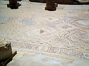The Mosaic floor at Nilos church in Mamshit from the 4th century<br /> Mamshit is the Nabatean city of Memphis. In the Nabatean period, Mamshit was important because it sat on the route from the Idumean Mountains to the Arava, continued on to Beersheva or to Hebron and Jerusalem. The city covers ten acres and is the smallest but best restored city in the Negev Desert. The once-luxurious houses have unusual architecture not found in any other Nabatean city.