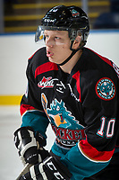 KELOWNA, CANADA - SEPTEMBER 5: Ted Brennan #10 of the Kelowna Rockets skates against the Kamloops Blazers on September 5, 2017 at Prospera Place in Kelowna, British Columbia, Canada.  (Photo by Marissa Baecker/Shoot the Breeze)  *** Local Caption ***