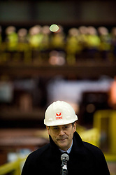 © Licensed to London News Pictures. 18/04/2012..SSI Steel, Teesside, England..Phil Dryden, UK Operations Manager for SSI UK waits for the first steel to come out of production at the Teesside plant...Two years after the closure of the Corus steel production plant, the huge blast furnace on the site in Teesside was re-lit at the weekend as the process of bringing the furnace back to operating temperature begins...Today, the furnace, now owned by the Thai company Sahaviriya Steel Industries saw the first steel slabs come out of the furnace. ..The steel will now be shipped direct to SSI in Thailand for use in the car or white good industries...Photo credit : Ian Forsyth/LNP