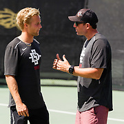 21 March 2018: San Diego State men's tennis host Denver Wednesday afternoon at the Aztec Tennis Center.<br /> More game action at sdsuaztecphotos.com