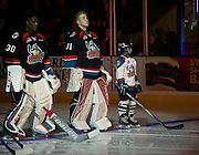 KELOWNA, CANADA - SEPTEMBER 24:  Michael Herringer #30 of the Kelowna Rockets, Brodan Salmond #31 of the Kelowna Rockets and the Pepsi Player of the Game stand in starting lineup at the Kelowna Rockets game on September 24, 2016 at Prospera Place in Kelowna, British Columbia, Canada.  (Photo By Cindy Rogers/Nyasa Photography,  *** Local Caption ***