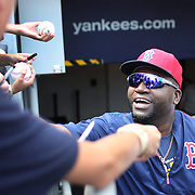 NEW YORK, NEW YORK - July 10: David Ortiz #34 of the Boston Red Sox with fans before the Boston Red Sox Vs New York Yankees regular season MLB game at Yankee Stadium on July 10, 2016 in New York City. (Photo by Tim Clayton/Corbis via Getty Images)