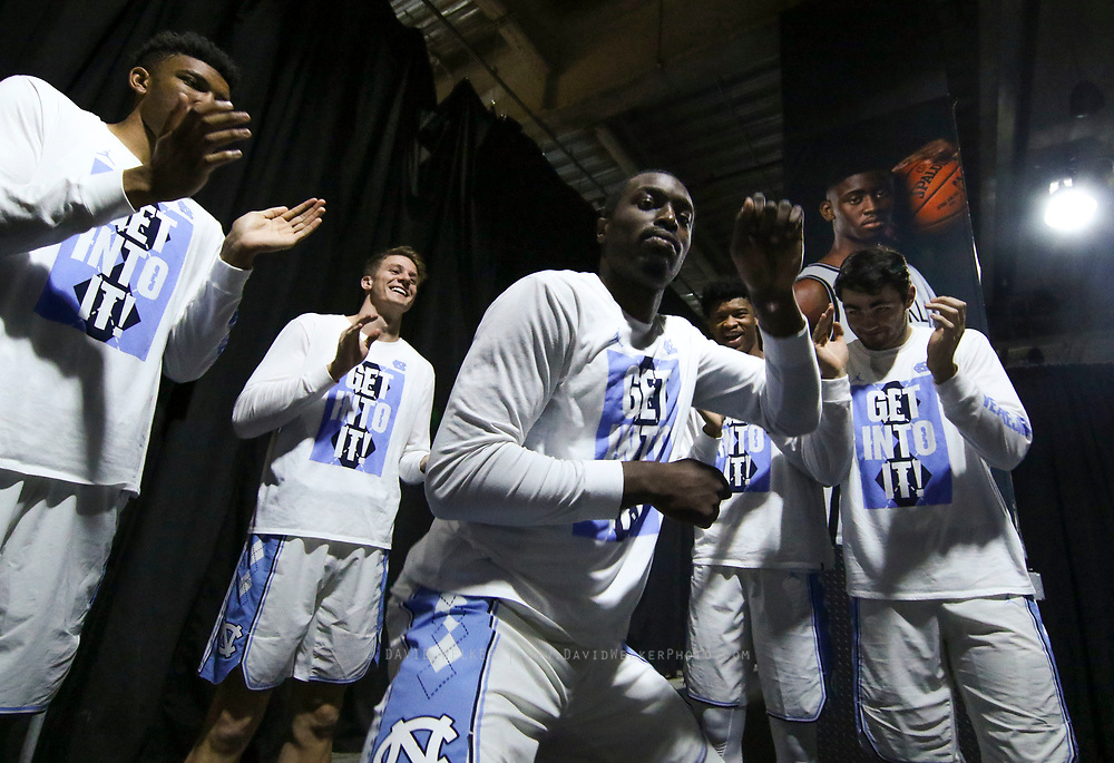 North Carolina players dance in the corridor before going onto the court during the semifinals of the 2017 New York Life ACC Tournament at the Barclays Center in Brooklyn, N.Y., Friday, March 10, 2017. (Photo by David Welker, theACC.com)