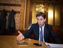 © Licensed to London News Pictures . 29/11/2013 . Manchester , UK . The leader of the Labour Party , ED MILIBAND , being interviewed after addressing an audience at Manchester Town Hall today (Friday 29th November 2013) . The British opposition leader is launching a green paper on energy. Photo credit : Joel Goodman/LNP