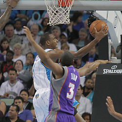 03 December 2008: New Orleans Hornets guard Rasual Butler (45) puts up a shot over Phoenix Suns forward Boris Diaw (3) during the first half of a NBA regular season game between the Phoenix Suns and the New Orleans Hornets at the New Orleans Arena in New Orleans, LA..