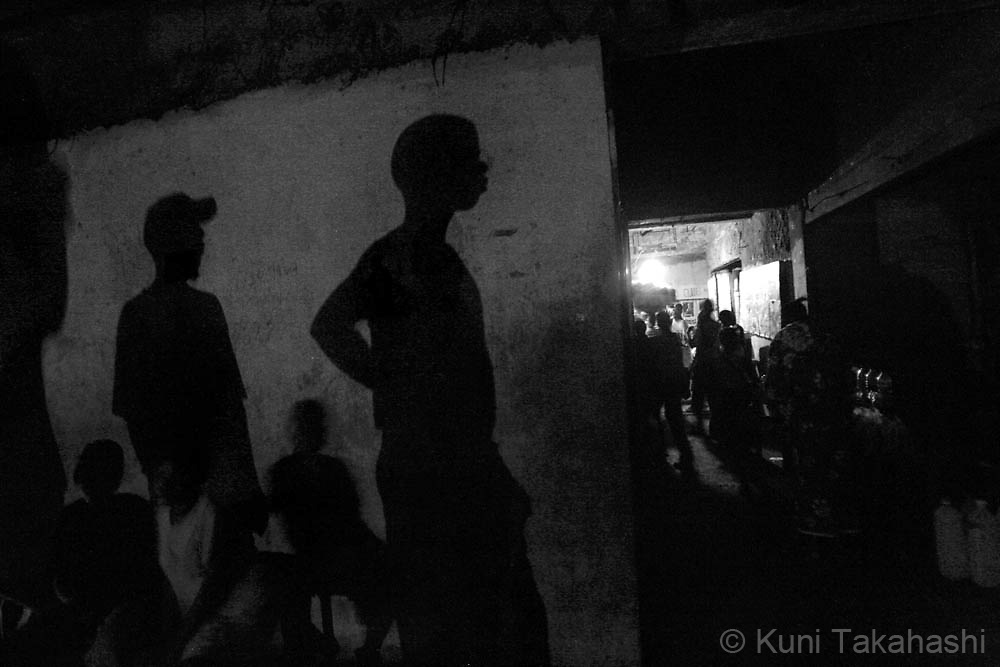 Shadows are reflected on the wall at an abandoned building in Monrovia, where many displaced people and ex-combatants have been living since the end of the country's civil war in 2003. Although the Liberia's 14-year civil war ended five years ago, many ex-combatants are still struggling to survive due to the lack of jobs in a weak economy..