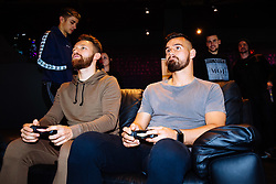 Matty Taylor and Bailey Wright in action as Bristol City players visit the Belong by GAME gaming arena to play the new FIFA 18 - Rogan/JMP - 27/09/2017 - Merchant Street - Bristol, England.