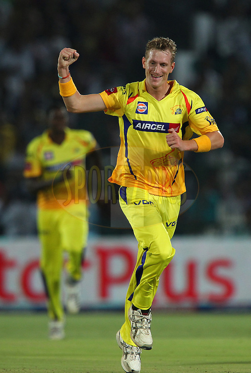 Chris Morris celebrates the wicket of Rahul Dravid during match 61 of the Pepsi Indian Premier League ( IPL) 2013  between The Rajasthan Royals and the Chennai SUperkings held at the Sawai Mansingh Stadium in Jaipur on the 12th May 2013..Photo by Ron Gaunt-IPL-SPORTZPICS ..Use of this image is subject to the terms and conditions as outlined by the BCCI. These terms can be found by following this link:..http://www.sportzpics.co.za/image/I0000SoRagM2cIEc