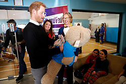 February 19, 2019 - London, London, United Kingdom - Image licensed to i-Images Picture Agency. 19/02/2019. London, United Kingdom.  Prince Harry, The Duke of Sussex, during a visit to a Fit and Fed half-term initiative in London. The national Fit and Fed campaign aims to provide children and young people with free access to activity sessions and a nutritious lunch during school holidays. (Credit Image: © Pool/i-Images via ZUMA Press)