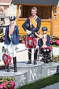Podium Para Dressuur 1. Frank Hosmar - Alphaville N.O.P., 2. Estee Gerritsen - Exquis Onassis, 3. Nicole van den Dulk - Wallace N.O.P.<br /> Nederlands Kampioenschap 2016<br /> © DigiShots