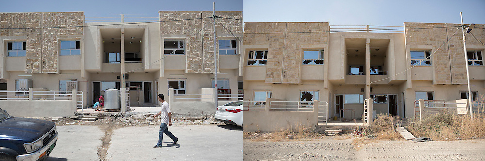 © Licensed to London News Pictures.  Before and after pictures showing life before ISIS occupation of Hamdaniyah in Iraq, and life after liberation from ISIS. PICTURED - A row of homes, housing Moslawi Christian refugees who have fled the Islamic State, is seen shortly before ISIS occupied the town of Hamdaniyahh, Iraq (left) and the same scene shortly after liberation from ISIS (right).  Hamdaniyah, and much of the Nineveh plains, were captured by the Islamic State during a large offensive on the 7th of August 2014 that saw the extremists advance to within 20km of the Iraqi Kurdish capital Erbil. Residents of the town  included many Christian refugees who escaped there after the fall of Mosul.  Photo credit: Matt Cetti-Roberts/LNP
