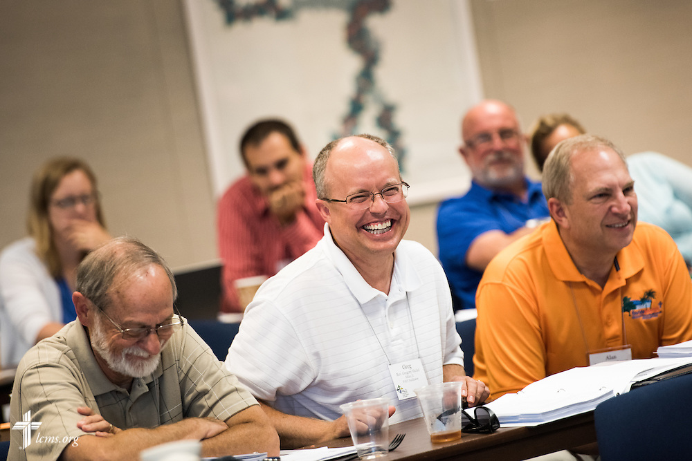 The Rev. Gregory Michel, pastor of St. Matthew Lutheran Church in Milan, Ill., laughs during a lighthearted moment at the Post Seminary Applied Learning and Support (PALS) Facilitator Training Conference at the International Center of The Lutheran Church–Missouri Synod on Tuesday, August 4, 2015, in Kirkwood, Mo. LCMS Communications/Erik M. Lunsford
