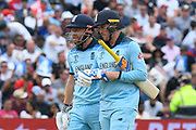 Jonny Bairstow of England and Jason Roy of England chat between overs during the ICC Cricket World Cup 2019 semi final match between Australia and England at Edgbaston, Birmingham, United Kingdom on 11 July 2019.