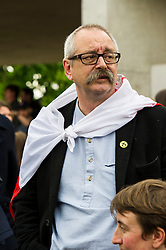 Pictured: Raymond Raszkowski-Ross<br /> Thousands of people gathered outside the Scottish Parliament to demonstrate for Scotland to remain part of EU. Young and old gathered in support of the European Movement Edinburgh  whoorganised the event inthe wake of the vote to leave<br /> <br /> <br /> Ger Harley | EEm 29 June 2016
