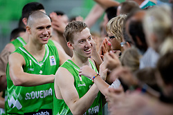 Players of Slovenia celebrate victory after basketball match between National teams of Greece and Slovenia in Placement match for 7th place of U20 Men European Championship Slovenia 2012, on July 22, 2012 in SRC Stozice, Ljubljana, Slovenia. (Photo by Matic Klansek Velej / Sportida.com)