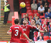 Aberdeen&rsquo;s David Goodwillie and Dundee's Thomas Konrad - Aberdeen v Dundee at Pittodrie<br /> - Ladbrokes Premiership<br /> <br />  - &copy; David Young - www.davidyoungphoto.co.uk - email: davidyoungphoto@gmail.com