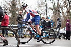 Lauren Kitchen (AUS) of FDJ Nouvelle Aquitaine Futuroscope Team rides uphill during the Trofeo Alfredo Binda - a 131,1 km road race, between Taino and Cittiglio on March 18, 2018, in Varese, Italy. (Photo by Balint Hamvas/Velofocus.com)