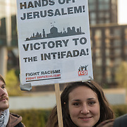 Pro-Palestinian demonstrators rally in London on May 14, 2018 as U.S. moves embassy to Jerusalem, on the eve of the 70th anniversary of Nakba. Palestinians will mark the Nakba or catastrophe on May 15, when hundreds of thousands were expelled or forced to flee in the 1948 war surrounding Israels creation. Israeli soldiers killed at least 52 Palestinians and wounded over a thousand as the demonstrations coincided with the controversial opening of the U.S. Embassy in Jerusalem on May 14.