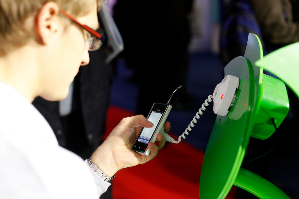 """February 15th, 2010.  The World Mobile Congress  (15-18th 2010). The MWC meets for four days the best companies of mobile telephony. All brands will set out their latest developments in mobile technology..Stand of """"Skype"""". .FOTO: TONI VILCHES."""