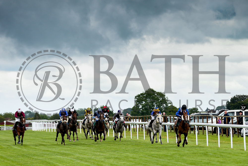 Alex Chadwick on Al Hakeem wins the Al Qurum Beach Amateur Riders Handicap Stakes during Ladies Day at Bath Racecourse - Rogan/JMP - 15/06/2019 - HORSERACING - Bath Racecourse - Bath, England.