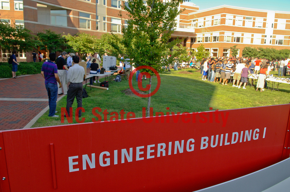 Students enjoy the Engineering Bash in the Engineering complex on Centennial. Photo by Marc Hall