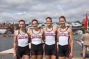 Henley-on-Thames. United Kingdom.  2017 Henley Royal Regatta, Henley Reach, River Thames. <br /> Women's Four. New York Athletic Club. Bow Olivia COFFEY, Kerry SIMMONDS Susan FRANCIA and Felice MUELLER<br /> 10:51:56  Friday  30/06/2017<br /> <br /> [Mandatory Credit. Intersport Images}.