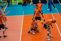 09-06-2019 NED: Golden League Netherlands - Spain, Koog aan de Zaan<br /> Fourth match poule B - The Dutch beat Spain again in five sets in the European Golden League / Nimir Abdelaziz #14 of Netherlands, Wessel Keemink #2 of Netherlands, Fabian Plak #8 of Netherlands, Gijs Jorna #7 of Netherlands, Just Dronkers #19 of Netherlands