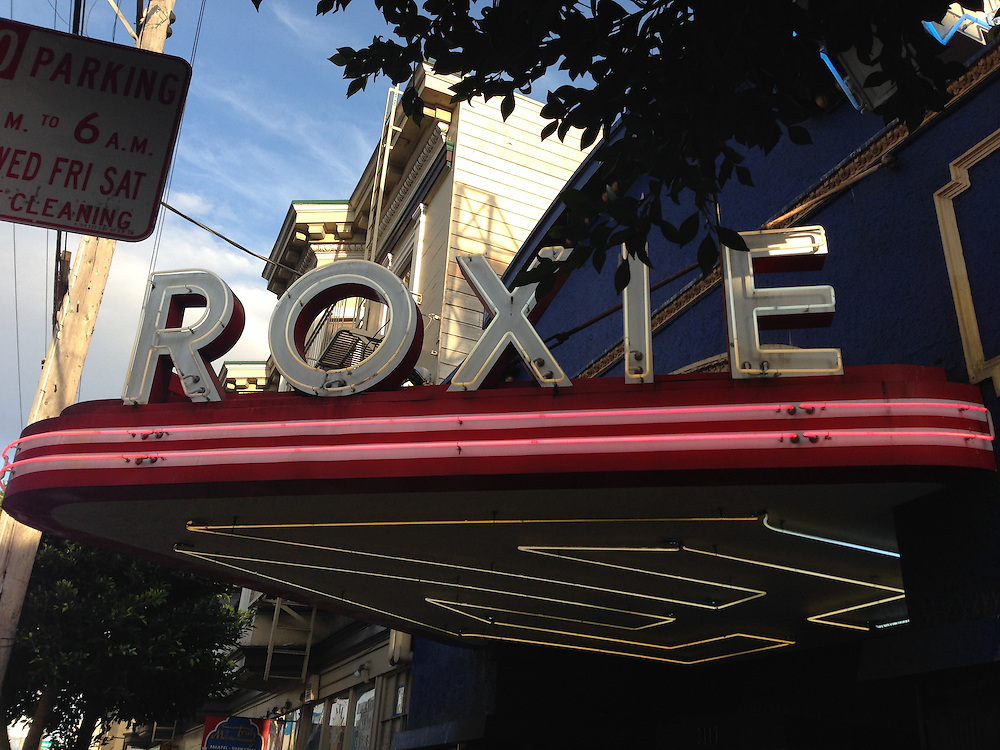 exterior of the roxie theatre, located in san francisco's mission district.