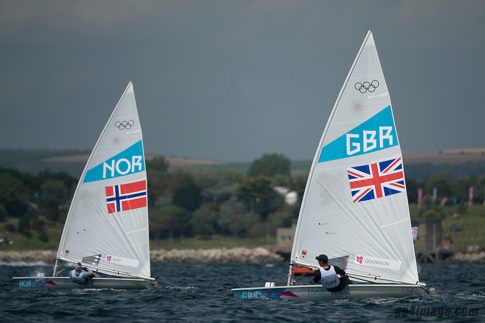 2012 Olympic Games London / Weymouth<br /> Racing day 1 Laser<br /> LaserNOR Ruth Kristian<br /> LaserGBRGoodison Paul