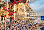 Royal Caribbean, Harmony of the Seas, the AquaTheateris an amphitheater-style entertainment space celebrating water with a full spectrum of activities including water and light shows, professional aquatic acrobatic and synchronized swimming performances
