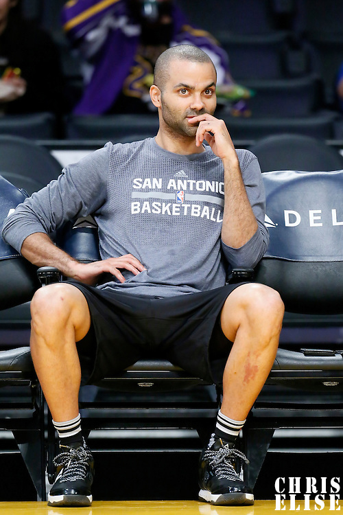 19 February 2016:  San Antonio Spurs guard Tony Parker (9) is seen prior to the San Antonio Spurs 119-113 victory over the Los Angeles Lakers, at the Staples Center, Los Angeles, California, USA.