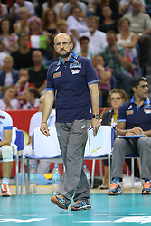 07.09.2014, Krakow Arena, Krakau, POL, FIVB WM, Italien vs USA, Gruppe D, im Bild MAURO BERRUTO // during the FIVB Volleyball Men's World Championships Pool D Match beween Italy and USA at the Krakow Arena in Krakau, Poland on 2014/09/07. <br /> <br /> ***NETHERLANDS ONLY***