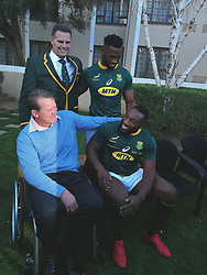 Rassie Erasmus, Siya Kolisi, former Springbok Andre Venter (who presented the team with their match jerseys) and Beast Mtawarira.