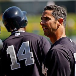 February 27, 2011; Clearwater, FL, USA; New York Yankees catcher Jorge Posada (20) during batting practice before a spring training exhibition game against the Philadelphia Phillies at  Bright House Networks Field. Mandatory Credit: Derick E. Hingle