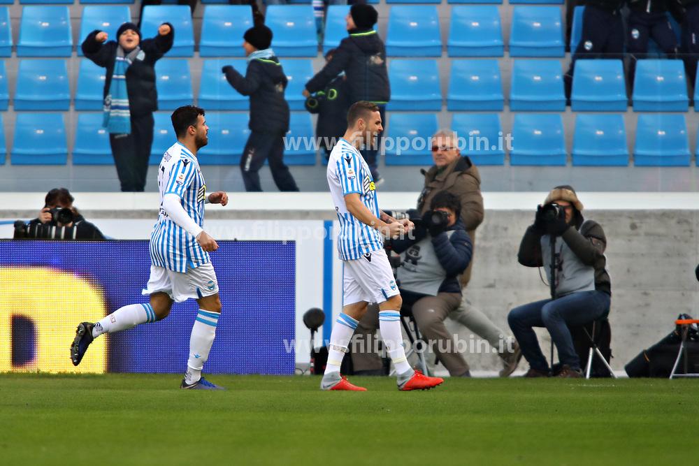 """Foto Filippo Rubin<br /> 01/12/2018 Ferrara (Italia)<br /> Sport Calcio<br /> Spal - Empoli - Campionato di calcio Serie A 2018/2019 - Stadio """"Paolo Mazza""""<br /> Nella foto: ESULTANZA GOAL SPAL JASMIN KURTIC (SPAL)<br /> <br /> Photo Filippo Rubin<br /> December 01, 2018 Ferrara (Italy)<br /> Sport Soccer<br /> Spal vs Empoli - Italian Football Championship League A 2018/2019 - """"Paolo Mazza"""" Stadium <br /> In the pic: CELEBRATION GOAL SPAL JASMIN KURTIC (SPAL)"""