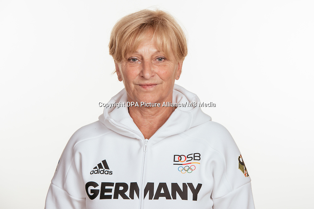 Ursula Koch poses at a photocall during the preparations for the Olympic Games in Rio at the Emmich Cambrai Barracks in Hanover, Germany, taken on 12/07/16 | usage worldwide