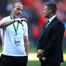 Paul Gustard (Defence Coach) of England with Jean de Villiers rugby commentator during the 2018 Castle Lager Incoming Series 1st Test match between South Africa and England at Emirates Airline Park,<br /> Johannesburg.South Africa. 09,06,2018 Photo by (Steve Haag Sports)
