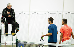Aljaz Jakob Kaplja and Bor Muzar Schweiger complaining to the umpire at final match during Slovenian men's doubles tennis Championship 2019, on December 29, 2019 in Medvode, Slovenia. Photo by Vid Ponikvar/ Sportida