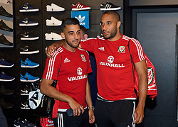 CARDIFF, WALES - Thursday, June 2, 2016: Wales' captain Ashley Williams and Neil Taylor during a visit to a JD Sports store in Llantrisant. (Pic by Ian Cook/Propaganda)