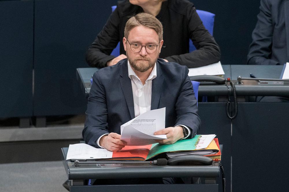 14 FEB 2019, BERLIN/GERMANY:<br /> Jan Korte, MdB, Die Linke, Parl. Geschaeftsfuehrer Die Linke, Bundestagsdebatte, Plenum, Deutscher Bundestag<br /> IMAGE: 20190214-01-020<br /> KEYWORDS: Bundestag, Debatte