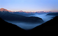 """Forest Fire Smoke Amid The Peaks, Glacier National Park, Montana, Along The """"Going To The Sun Road"""""""